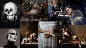 A collage of memento mori images